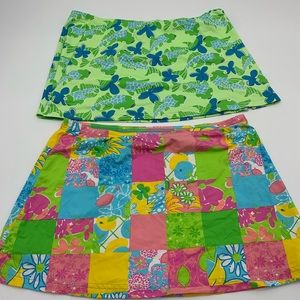 Lilly Pulitzer lot of 2 swim skirts cover up sz M
